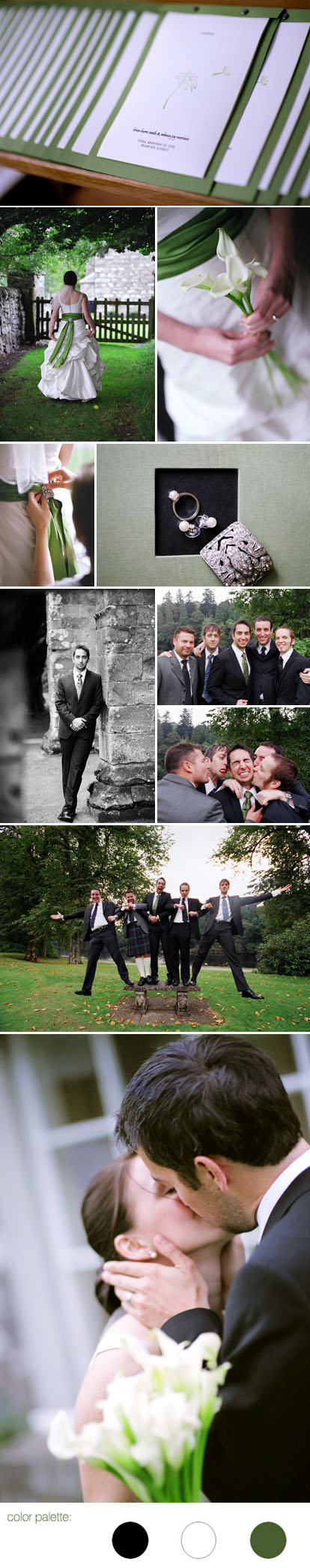 Images by Eric Rhodes, Scotland destination wedding, black, white and green wedding color palette