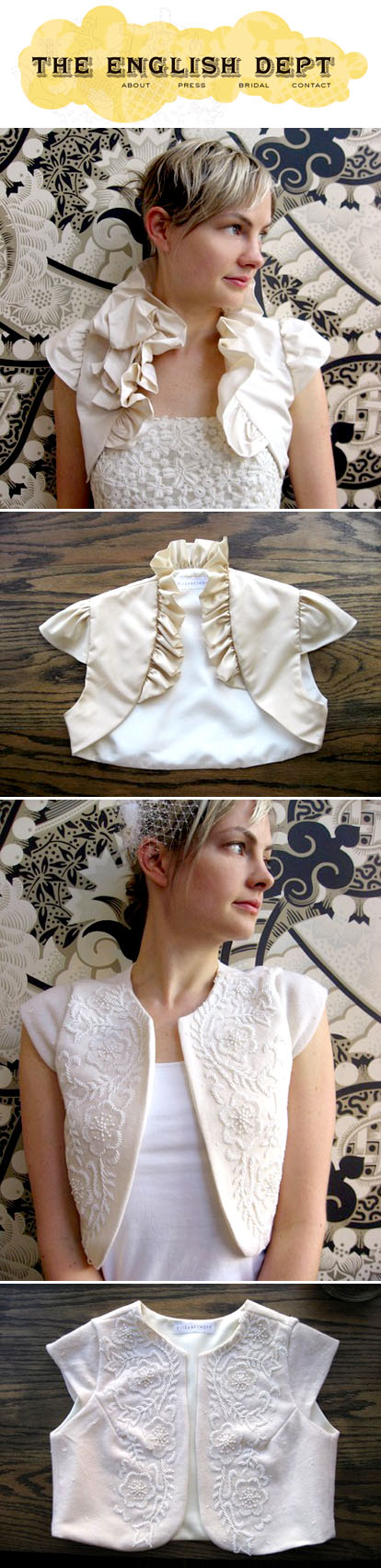 bridal shrugs and boleros by The English Department
