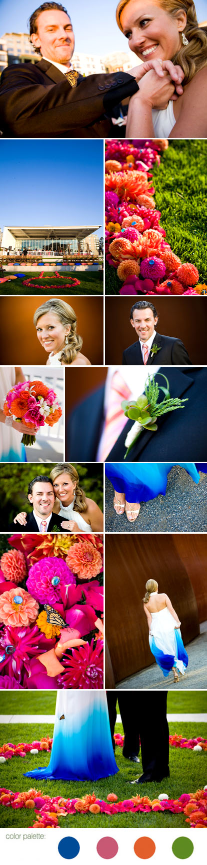 Stephanie Cristalli Photography, Indian inspired summer wedding, pink, orange blue and green wedding color palette