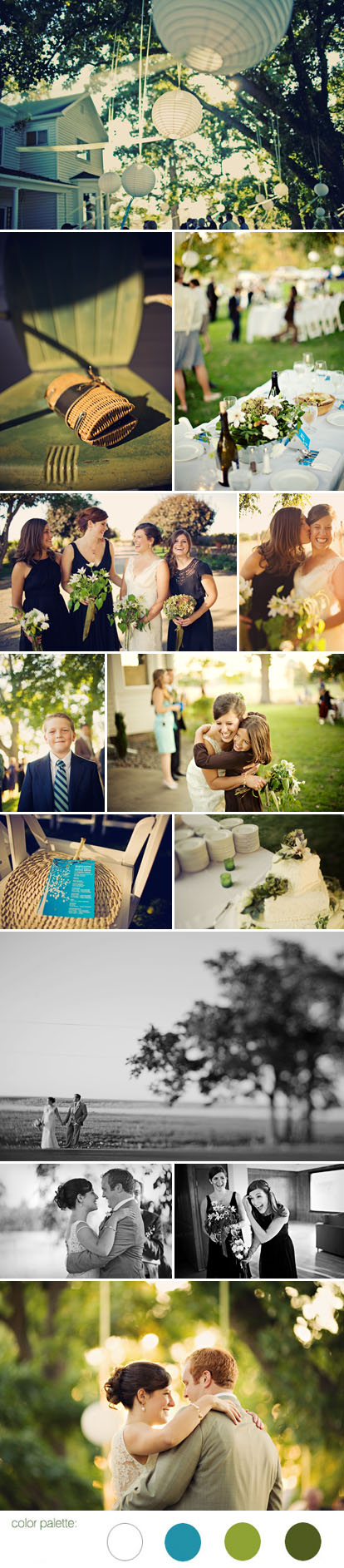 Sean Flanigan Photography, green, white and blue summer wedding color palette, casual wedding style