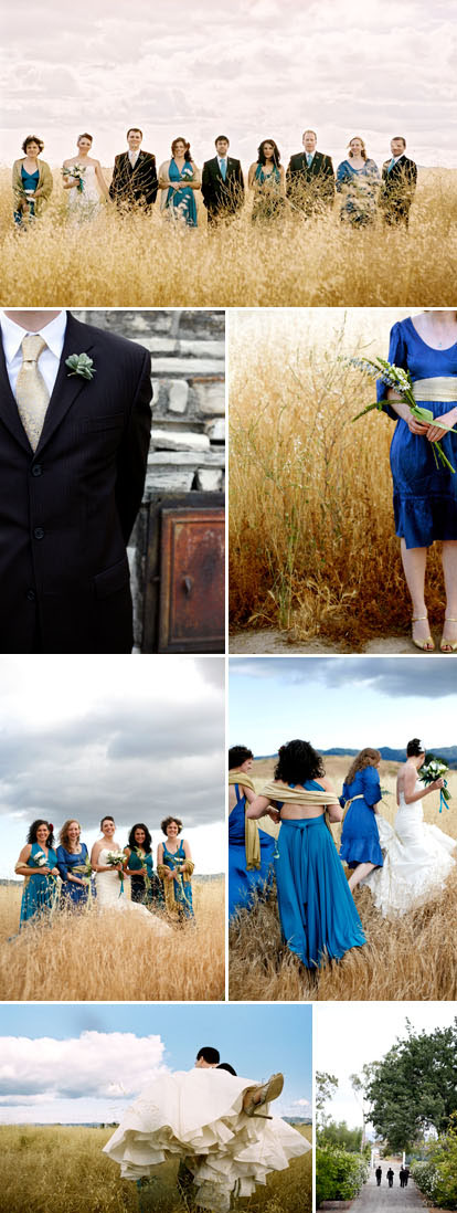 California summer real wedding images by Belathee Photography, peacock blue, lime green, ivory and gold wedding color palette