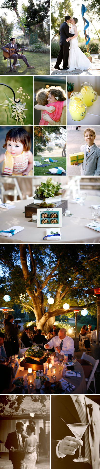 COutdoor BBQ summer real wedding images by Belathee Photography, peacock blue, lime green, ivory and gold wedding color palette