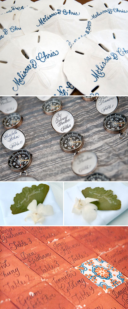 Creative custom place cards by Laura Hooper Calligraphy and Lucky Orchid Invitations