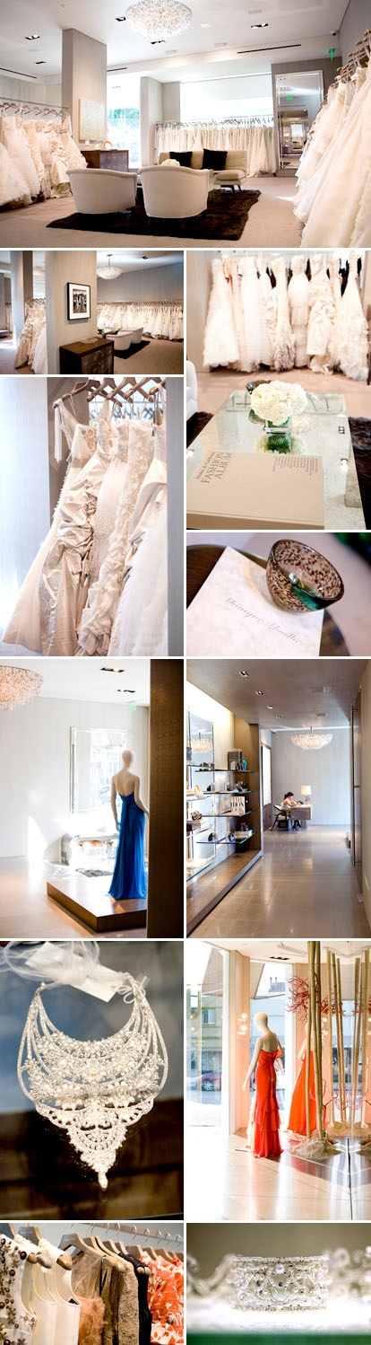The Monique Lhuillier flagship wedding dress boutique, Los Angeles, California
