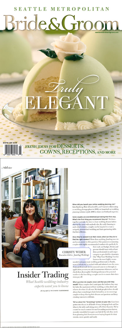 Seattle Met Bride and Groom Magazine, wedding expert interview with Christy Weber of Junebug Weddings