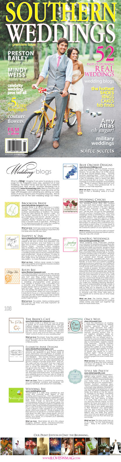 Southern Weddings Magazine wedding blogs feature on What Junebug Loves