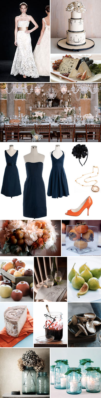 navy blue, cream and orange wedding color palette for a rustic and elegant fall foodie wedding
