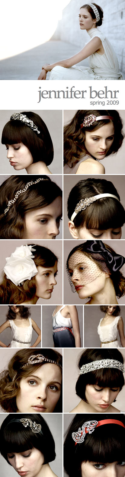 Jennifer Behr bridal hair accessories, spring 09 collection, veils, headbands, jewels, feathers and ribbons