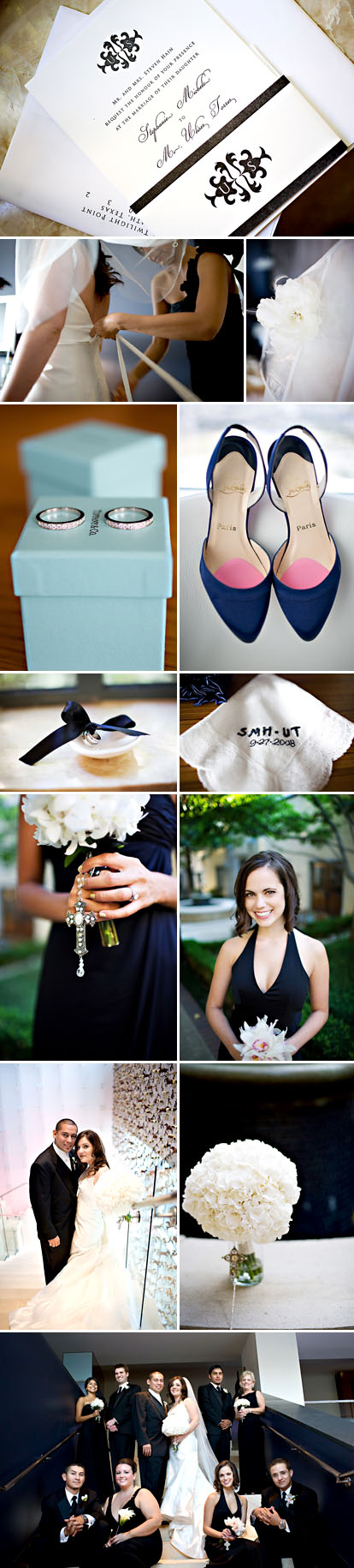 Perez Photogrpahy, black and white wedding color palette, Dallas, Texas modern wedding