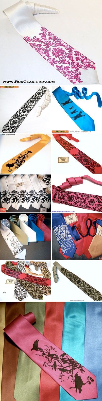 Screen printed wedding neckties from RokGear on Etsy.com