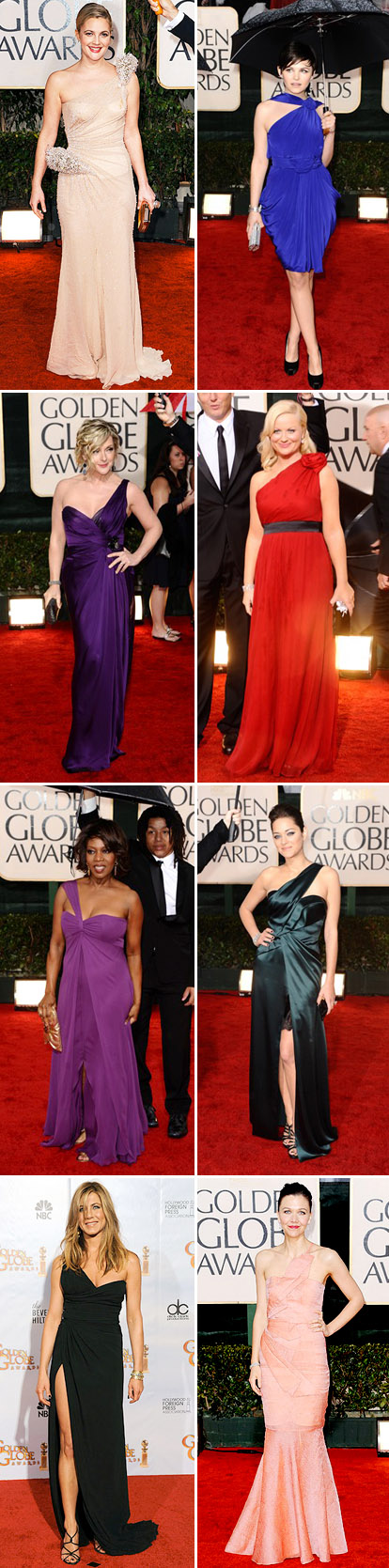 one shoulder evening gowns from the 2010 golden globe red carpet