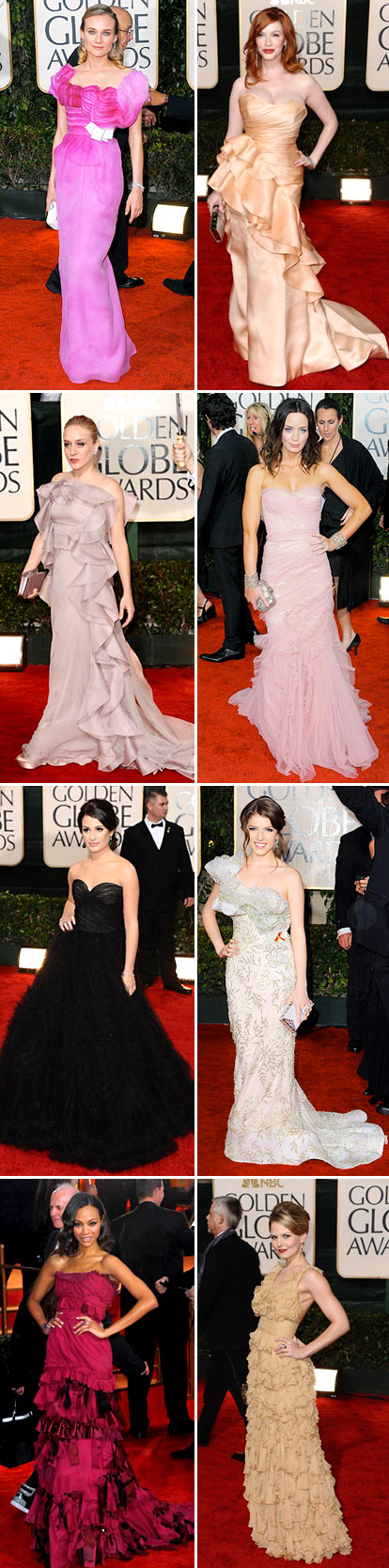 ruffled evening gowns from the 2010 golden globe red carpet