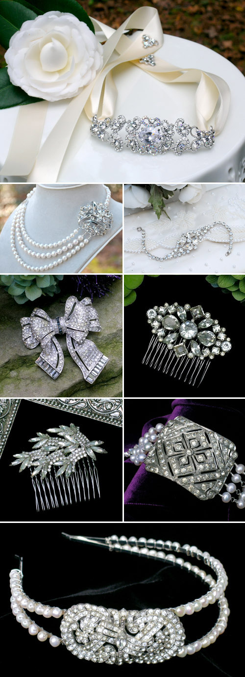 antique and vintage inspired bridal earrings, neckalces, bracelets, haircombs and headbands from Bel Canto Designs