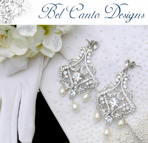 vintage inspired bridal earrings from Bel Canto Designs