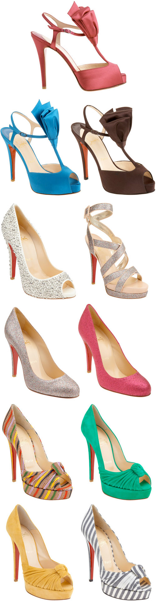 Christian Louboutin colorful spring wedding shoes, from Barneys.com