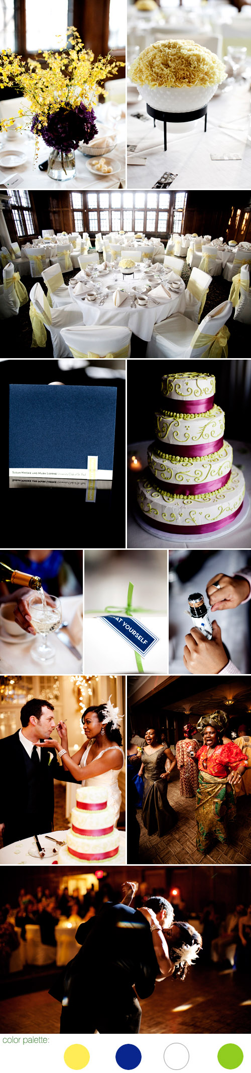 St Paul, Minnesota spring real wedding reception, yellow and blue color palette, images by Eliesa Johnson of Photogen