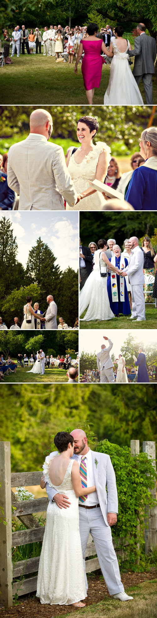 colorful outdoor indian-inspired farm wedding ceremony photographed by Gabriel Boone
