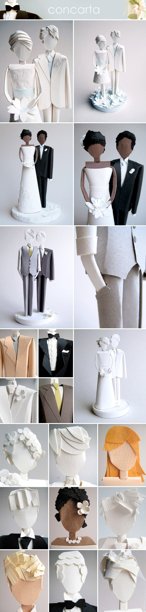 creative paper wedding cake toppers from concarta on etsy.com