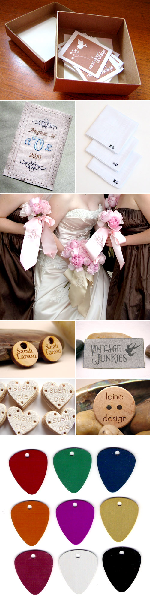 custom printed personalized wedding dress and labels and wedding favor tags from etsy.com