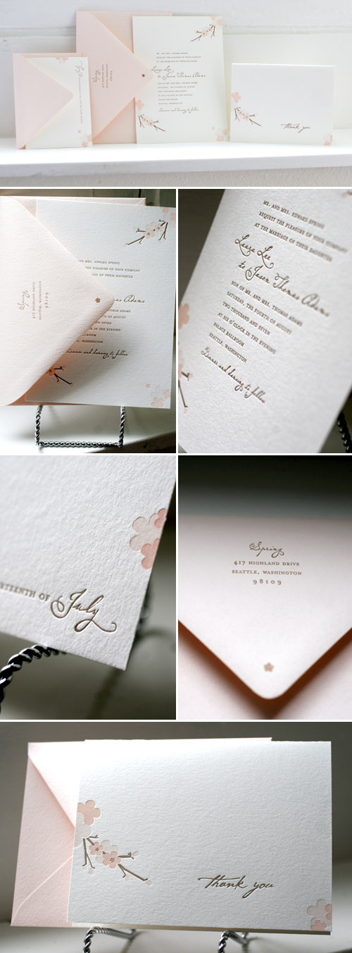 cherry blossom wedding letterpress invitations designed by Tara Bliven of Ephemera Letterpress