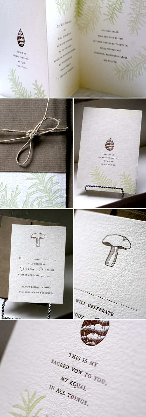 fir tree and mushroom wedding letterpress invitations designed by Tara Bliven of Ephemera Letterpress