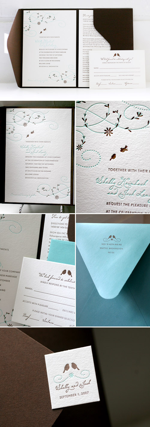 floral whimsy and bird wedding letterpress invitations designed by Tara Bliven of Ephemera Letterpress