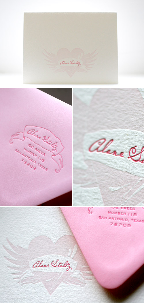 pink winged heart wedding letterpress invitations designed by Tara Bliven of Ephemera Letterpress