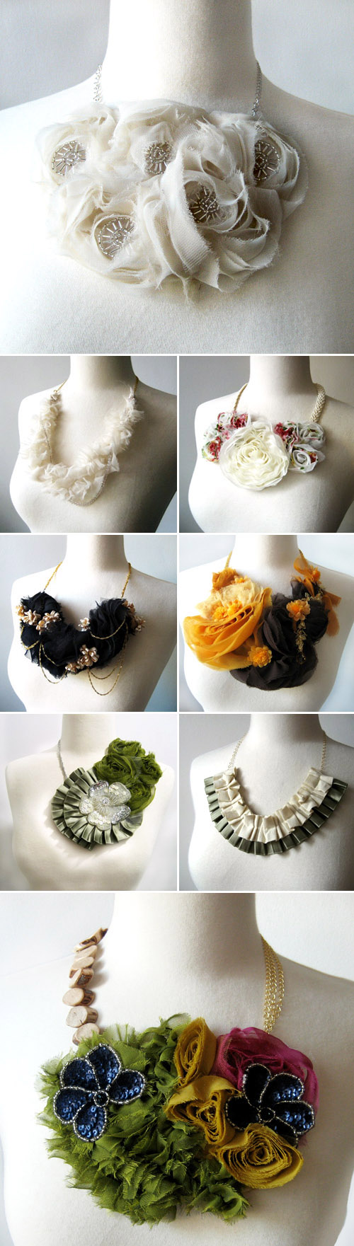 bold, stylish bridal neclaces with fabric flowers from PD Couture by Prismera Design