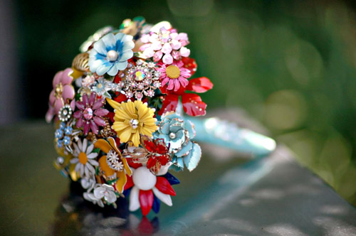colorful vintage brooch bridal bouquets from Fantasy Floral