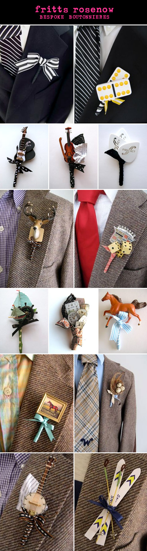 creative, alternative wedding boutonnieres for grooms and groomsmen from Fritts Rosenow