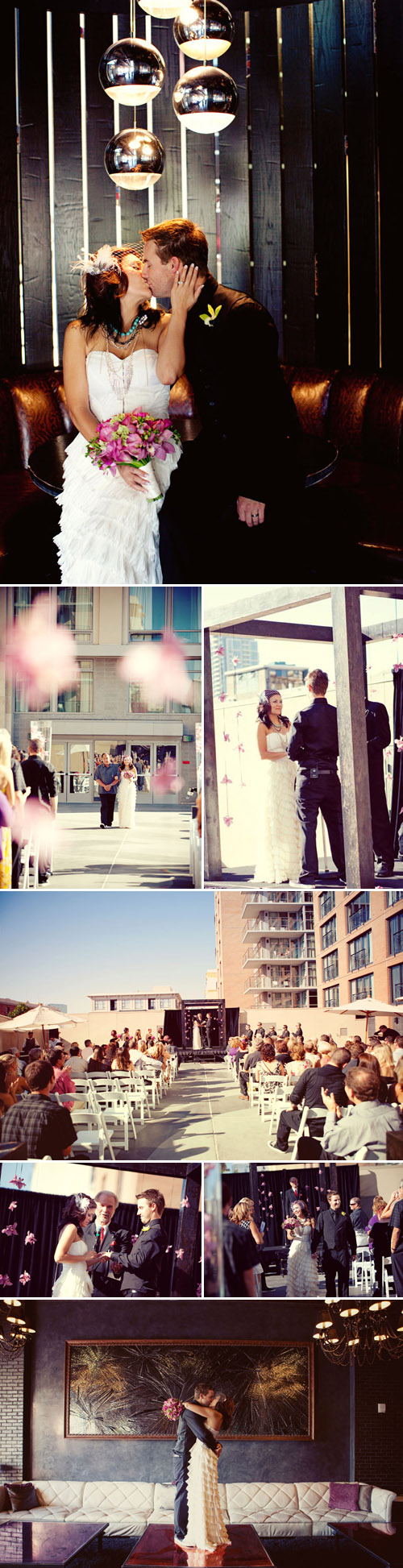 San Diego Hard Rock Hotel real wedding ceremony, pink and black wedding color palette, images by Sarah Yates Photography