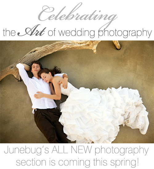 Junebug's all new wedding photography section, launching spring 2010! Image by Bob and Dawn Davis