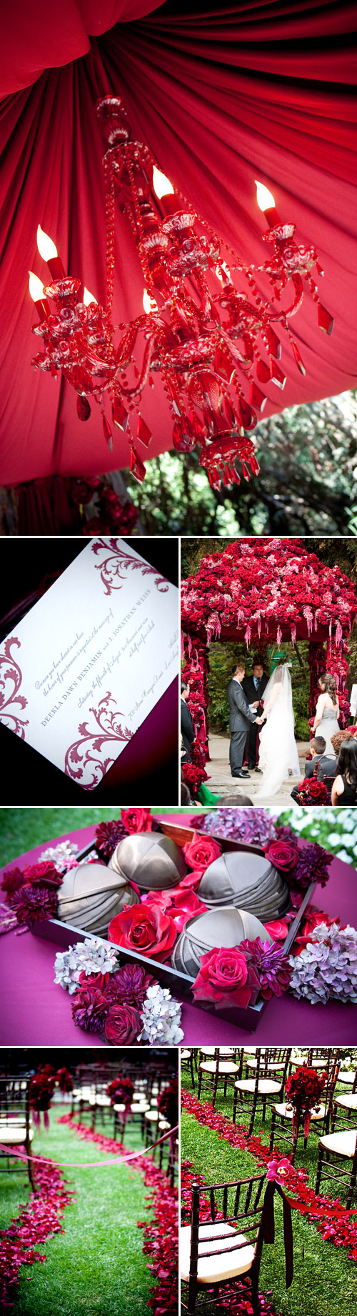 Luxurious vintage meets modern, red jewel tone wedding ceremony designed by Kristin Banta Events, images by David Michael Photography