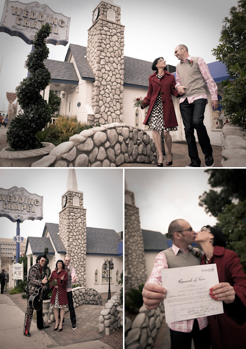 Las Vegas wedding vow renewal ceremony at the Graceland Wedding Chapel, images by Rocco Ancora and Vicki Bell