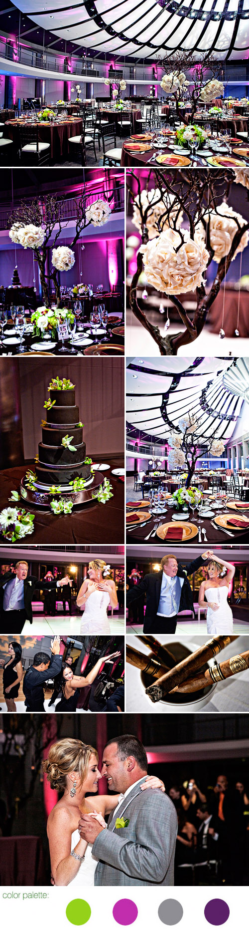 jewel tone wedding color palette real wedding reception, images by Joy Marie Photography