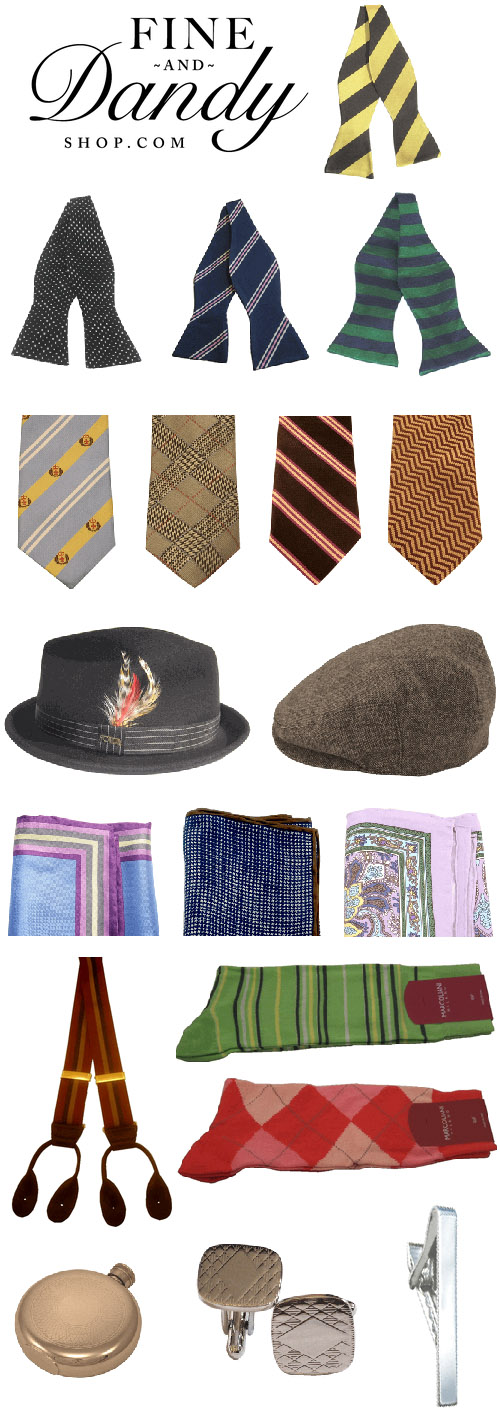 creative and stylish men's wedding fashion and accessories from Fine and Dandy Shop, bow ties, cuff links, pocket squaret, pocket watches, hats