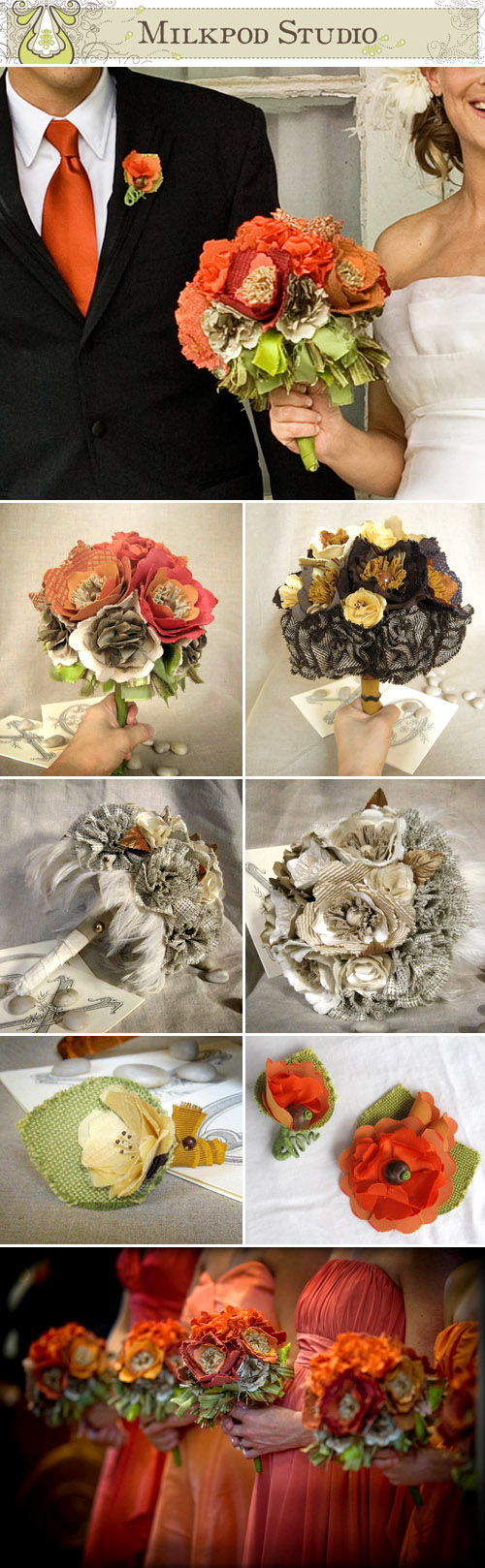 custom handmade fabric wedding flowers, boutonnieres and bridal bouquets by Milkpod Studio on Etsy.com