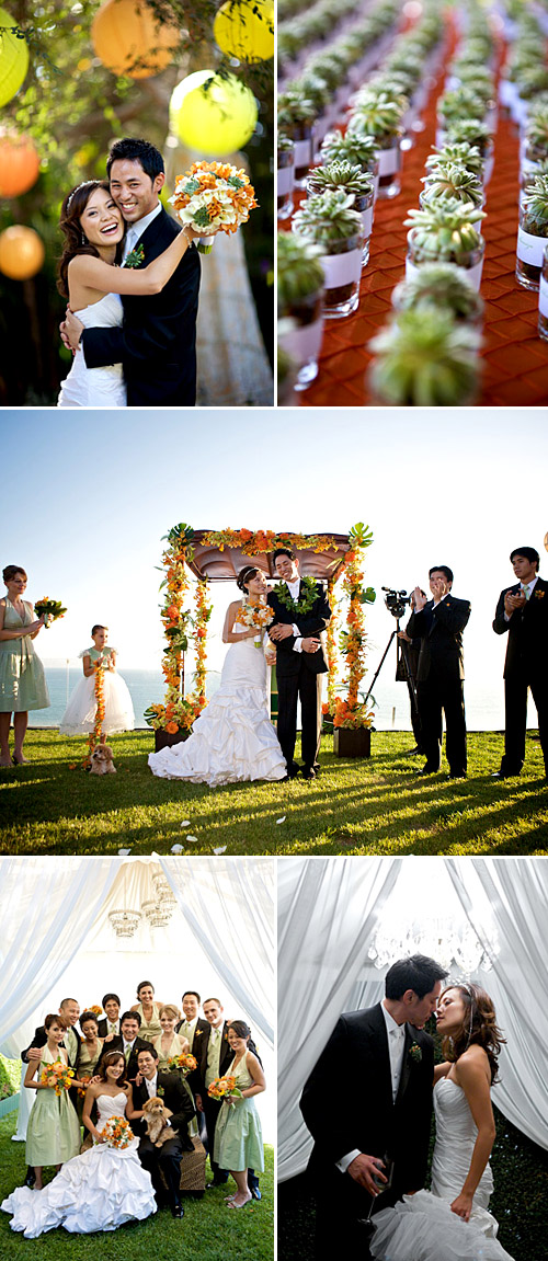 southern california orange, white and green wedding floral design by Nisie's Enchanted Florist, images by Ira Lippke Studios