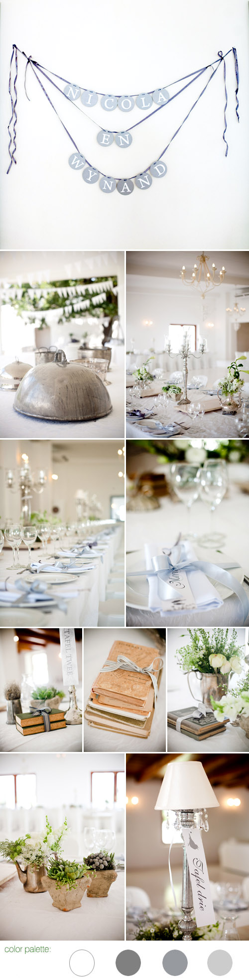 romantic vintage inspired real wedding in south africa, white, gray and silver wedding color palette and table decor, images by Christine Meintjes