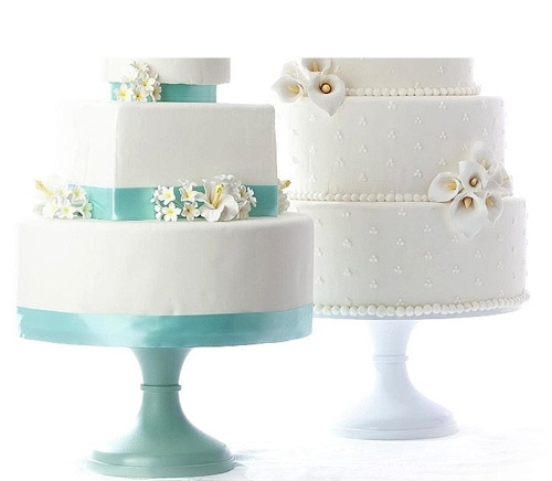 custom colored wedding cake stands from Sarah's Stands on Etsy.com, images by The Love Project and cakes by Great Cakes