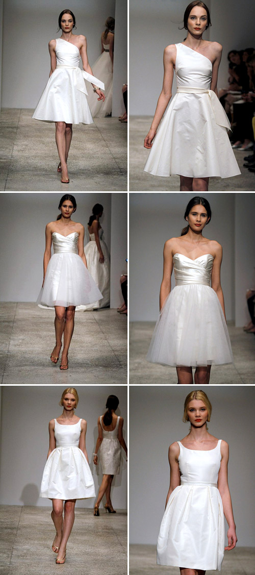 short wedding dress from Amsale, spring 2011 runway