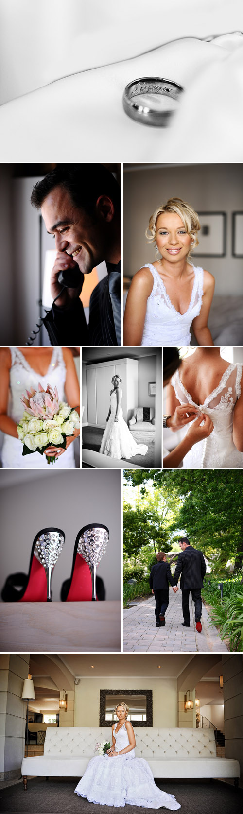 glamorous south african real wedding, black, white, gray and silver wedding color palette, images by Eric Uys