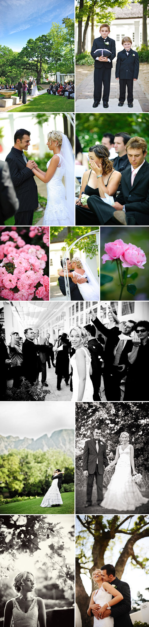 glamorous south african garden real wedding ceremony, black, white, gray and silver wedding color palette, images by Eric Uys