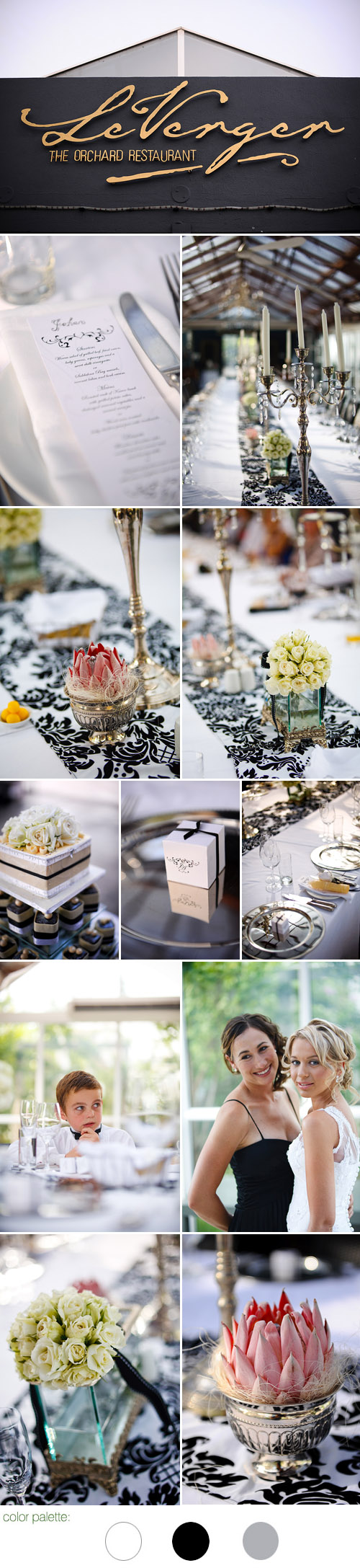 glamorous south african real wedding reception, black, white, gray and silver wedding color palette and wedding decor, images by Eric Uys