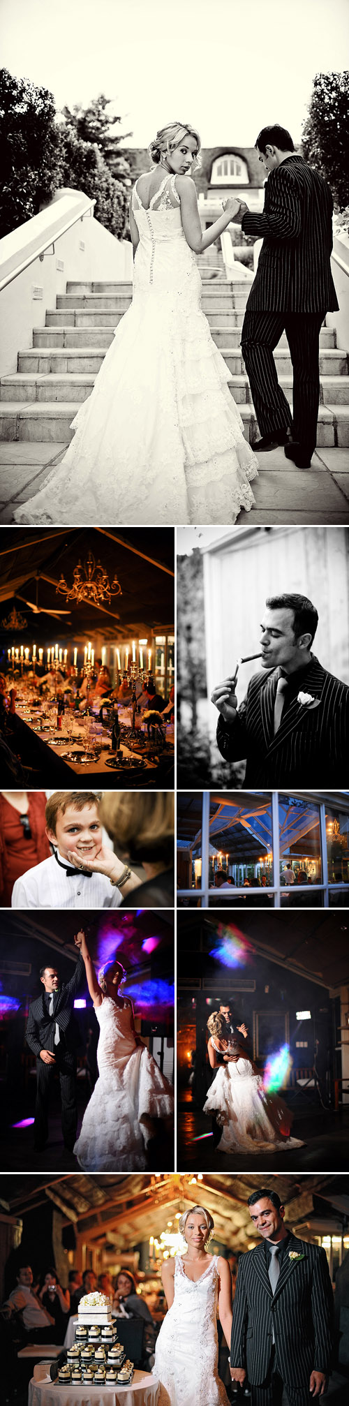 glamorous south african real wedding reception, black, white, gray and silver wedding color palette, images by Eric Uys
