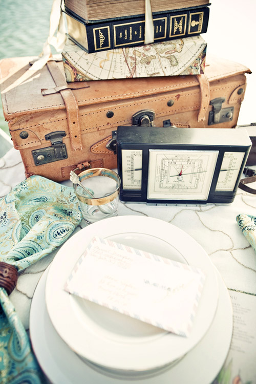 World traveler themed wedding table top design from Good Life Events, images by Llane Weddings