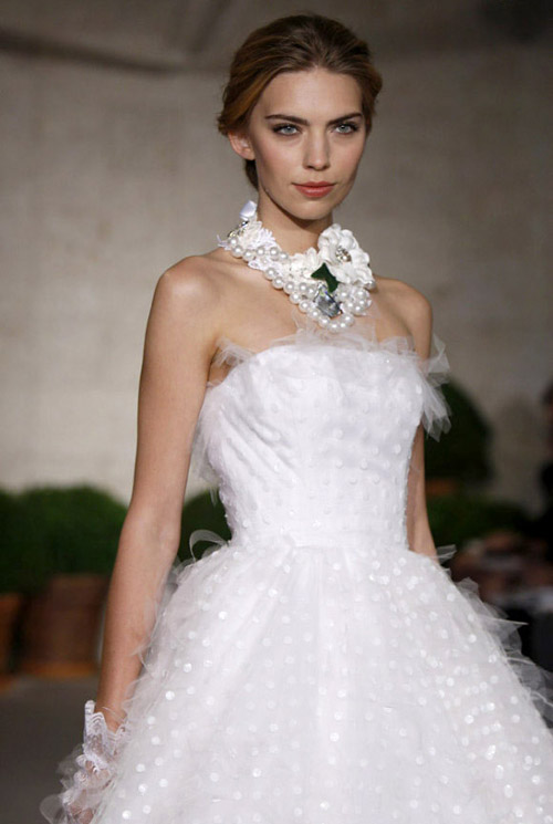 tulle accented wedding gown by oscar de la renta