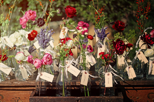 rustic vintage floral wedding escort cards by Duet Weddings, image by Max Wanger Photography