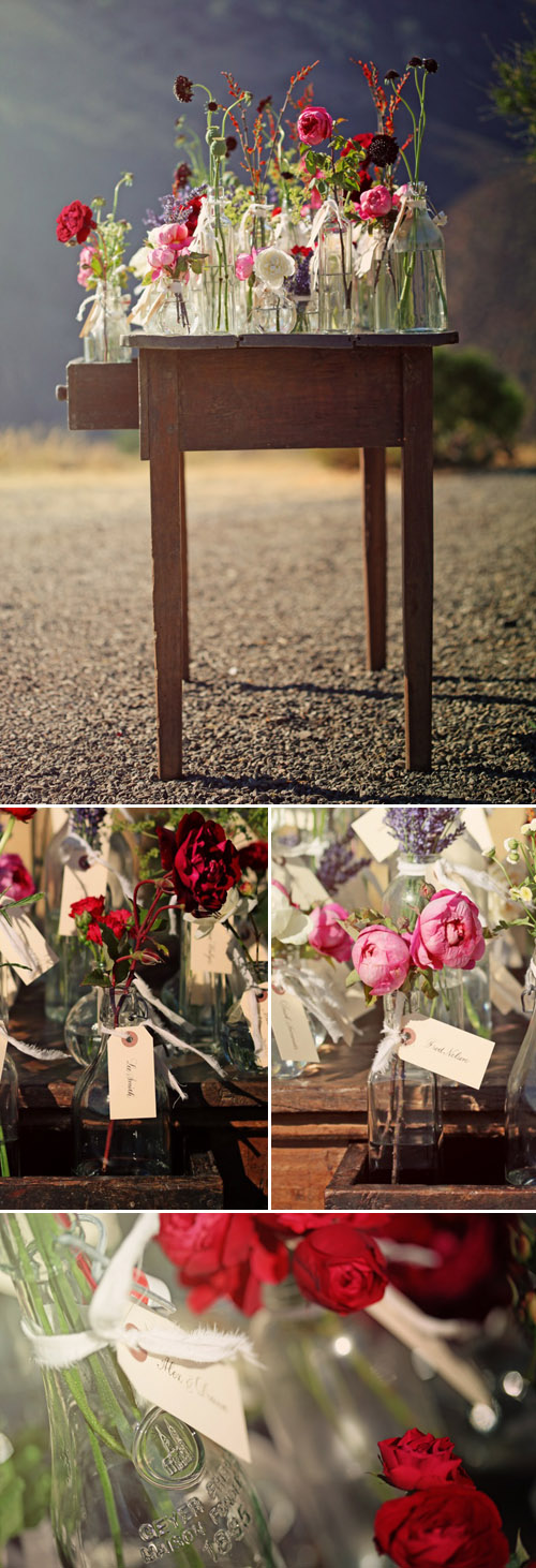 rustic vintage floral wedding escort cards by Duet Weddings, images by Max Wanger Photography