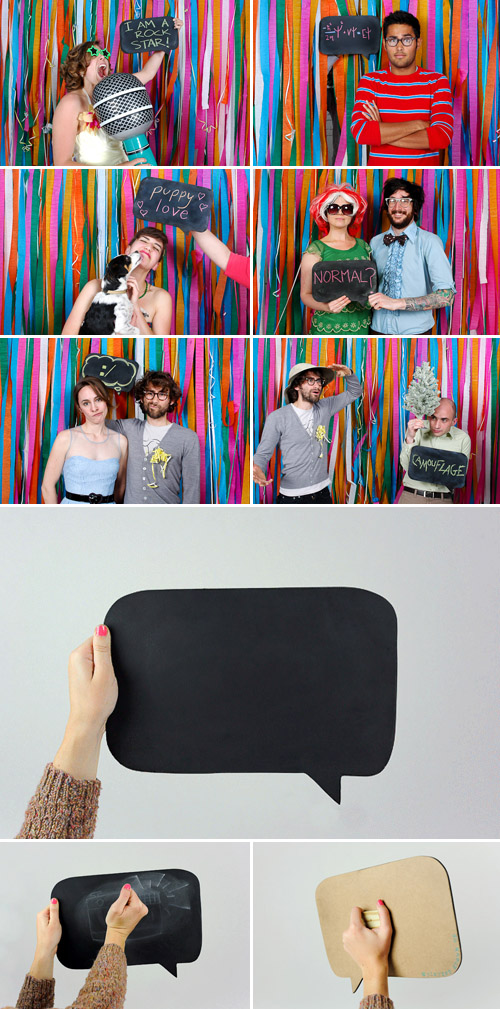 chalkboard speech bubble wedding photo booth prop